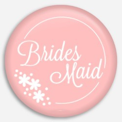 Cute Pink and White Flower Bridesmaid Button