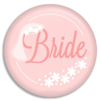 Cute Pink & White Flower Bride Button