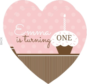 Pink And White Cupcake First Birthday Invite