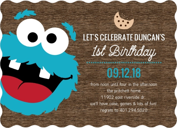 cookie monster photo first birthday invitation | first birthday, Birthday invitations