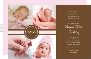 Ribbon First Birthday Invite