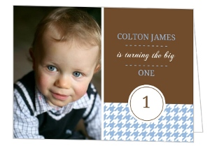 Brown And Blue Houndstooth First Birthday Invitation