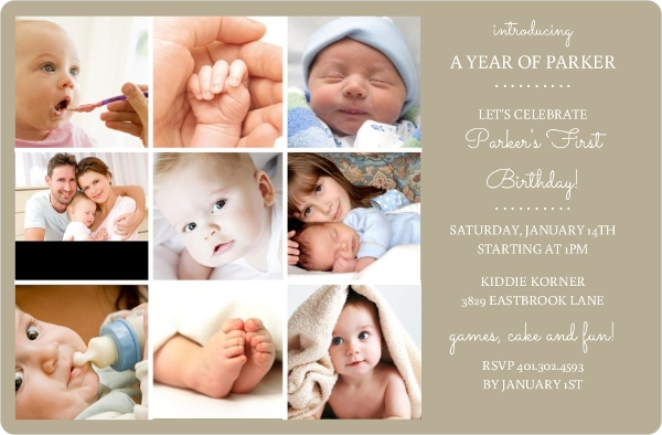 My First Year Taupe 1St Birthday Invitation – My First Birthday Invitation