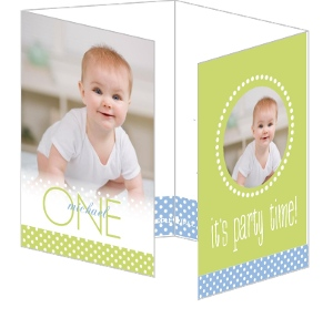 Green And Blue Picture Perfect First Birthday Party Invitations