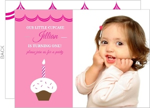 Cupcake First Birthday Party Invitation