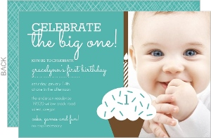 Turquoise Cupcake 1St Birthday Photo Invite