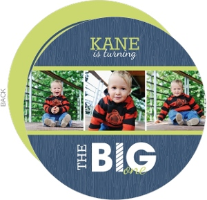 Blue And Green Big First Birthday Invitation
