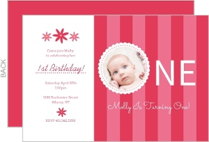 Pink Stripes And Flowers First Birthday Invitations