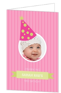 Pink And Green Celebration Hat 1St Birthday Invitations