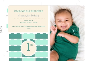 Teal And Mint Lego Postcard First Birthday Party Invitation