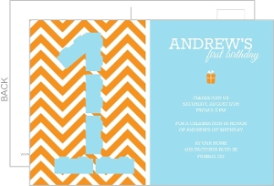 Orange And Blue Chevron Kids Birthday Invite