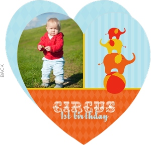 Blue And Orange Circus 1St Birthday Party Invitation