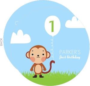Blue And Green Monkey First Birthday Party Invitation