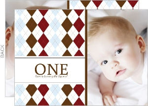 Argyle Sweater 1St Birthday Party Invitation