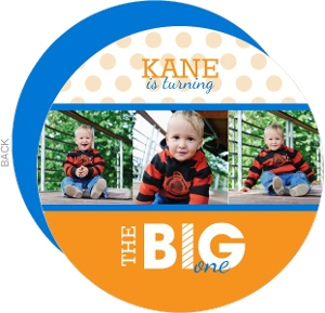 Blue And Orange Big First Birthday Invitation