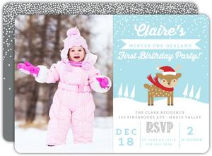 Little Deer Onederland First Birthday Invitation