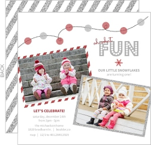Silver And Red Glitter Party Lights 1St Birthday Invitation