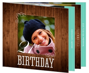 Woodgrain And Teal Booklet 21St Birthday Party Invitation