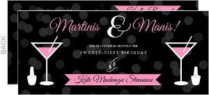Martinis And Manis 21St Birthday Invitation
