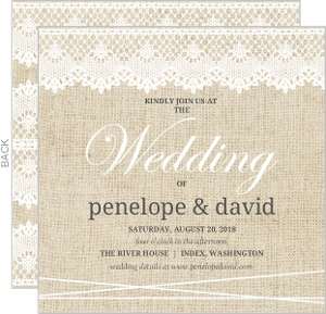 Vintage Burlap Lace Wedding Invitation