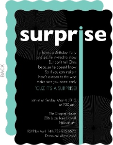 Black Big Surprise Birthday Party Invitation