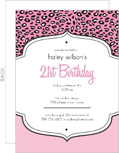 Pink Cheetah Print 21St Birthday Invitation