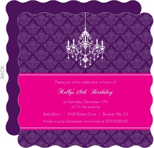 Elegant Damask and Chandelier 18th Birthday Invitaiton