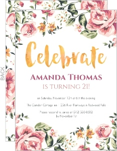 Floral Watercolor 21st Birthday Invitation