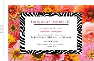 Flowers And Zebra 21St Birthday Invitation