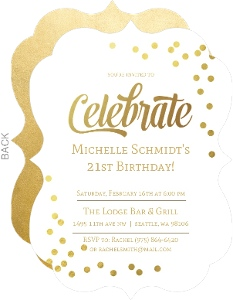 Faux Gold Foil Cute 21st Birthday Invite