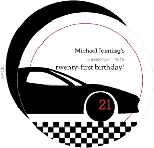 Black Race Car And Checkers 21St Birthday Invitation
