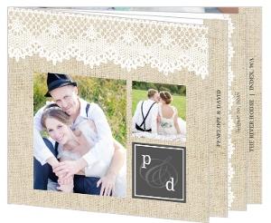 Vintage Burlap Lace Wedding Thank You Booklet