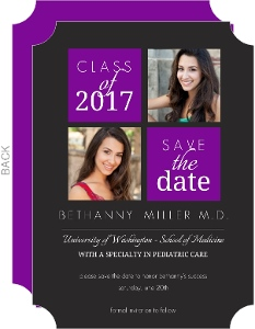 Purple Blocks Graduation Save The Date Announcement