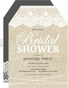 Vintage Burlap Lace Bridal Shower Invitation
