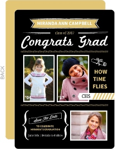 Gold and Black Modern Banners Graduation Save The Date Announcement