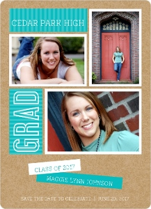 Turquoise Modern Kraft Graduation Save The Date Announcement