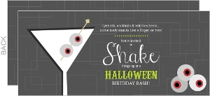 Retro Gray And Eyeball Martini Halloween Birthday Invitation