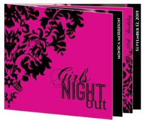 Pink and Black Elegant Damask Girls Night Out Invitation