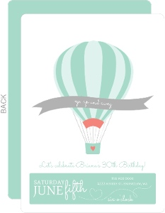 Up Up Air Balloon Birthday Party Invitation