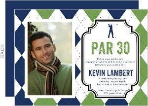 Argyle Sweater Golf Birthday Party Invitation