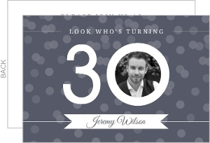 White And Gray Photo Confetti Thirtieth Birthday Invitation