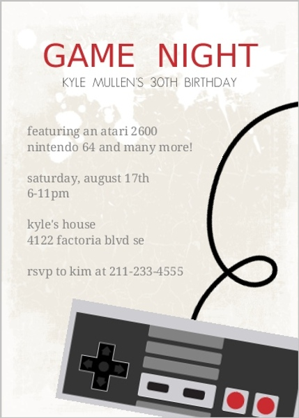 Classic Video Game 30Th Birthday Party Invitation – Classic Party Invitations