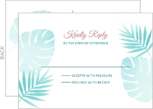 Watercolor Palms Wedding Response Postcard