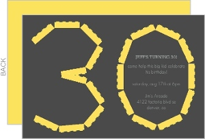 Gray And Yellow Lego 30Th Birthday Invitation