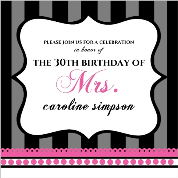Black And Gray Stripes With Pink 30Th Birthday Party Invitation – 30th Party Invitations