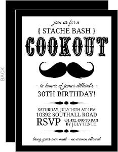Black And White Stache Bash Bbq Invite