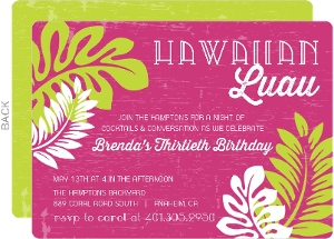 Pink And Palm Leaves Luau Party Invitation