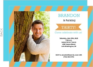 Orange And Turquoise Striped 30Th Birthday Photo Card