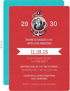 Red Sailing 30Th Birthday Invitation