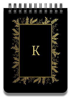 Gold Foliage Framed Initial Notepad